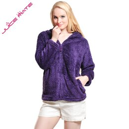 Wholesale Ladies Hoodie Fleece Jackets - Wholesale- Women Girls Plus Size Snuggle Fleece Blouse Zip Fluffy Warm Hooded Sweatshirt Hoodie Ladies Loose Sweatshirt Jacket With Hood