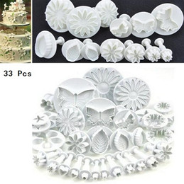 Wholesale Tool Shaped Cake Molds - New 10bag Flower Leaf Shapes 33pcs Sugarcraft Plungers Cutters rolling pin Cake Decorating Tools cookies molds