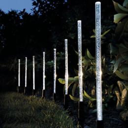 2019 conjunto de luz de tubo 8pcs tubo de energía solar luces lámparas acrílico burbuja camino césped paisaje decoración jardín palo estaca luz lámpara conjunto conjunto de luz de tubo baratos
