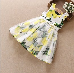 Wholesale Embroidered Tank Dress - Big girls lemon dress 2016 latest design girl's fashion dresses children tank suspender skirts kids boutiques 120 130 140 150 160