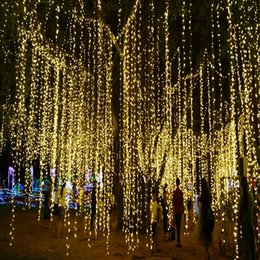 Wholesale Long String Led Christmas Lights - Wholesale- 4pcs 50m 550led 100m 1050led LED String Light long Wedding Party Christmas Tree Garden Outdoor decoration AC 220v EU Plug 4pcs
