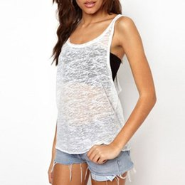 Wholesale Ladies Sexy Vests - Wholesale-S-5XL ZANZEA Fashion Summer Sexy Women Tank Tops Ladies Black White See Through Backless Vests Casual Loose Camisole Blusas