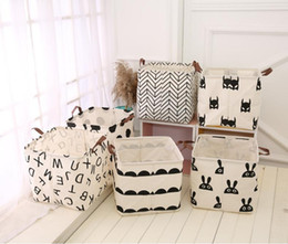 Wholesale Linen Storage Baskets - INS Waterproof Upscale Home decoration Foldable Bathroom Dirty Clothes Laundry Storage Buckets box Bag Kids Toy Cotton Linen Storage Basket