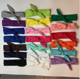 Wholesale Baby Photography Props Headbands - 17 Color 2016 Baby Bunny Ear Knot Cute Solid Headband Baby Elastic Headwear Baby Photography Props Hair Accessories KB441