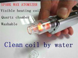 cera ricostruibile atomizzatore batteria al quarzo riscaldamento vetro camera cera vaporizzatore serbatoio 510 filetto titanio bobina di riscaldamento cera bollente serbatoio di vetro dab da