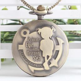 Wholesale Conan Watch - Anime Cartoon Detective Conan Pocket Watch Necklace Pendant for Xmas Gift