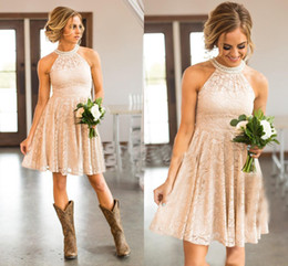 Wholesale Nude Knee Length Dresses - Nude Lace Bridesmaid Dresses 2017 Country Knee Length With Pearls Jewel NecK and Zipper Back Maid of Honor Dresses Custom Made Plus Size