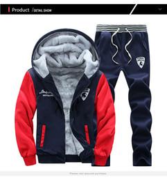 Wholesale Winter Thickening Fleeces Sport - New Men Winter Tracksuits Men's Set Thicken Fleece Hoodies + Pants Suit Sweatshirt Style Hoodie Mens Sporting Suits