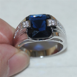 Wholesale Emerald Cut Engagement Rings - Men's 925 Silver Blue Sapphire Simulated Diamond CZ Gem Stone Emerald-cut Rings Engagement Wedding Anniversary Band Jewelry boys