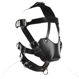 Wholesale Muzzle Bdsm - BDSM Sex Toys Black Leather Head Harness With Muzzle Leather Muzzle Bondage Restraint Gear Adult Sex Product