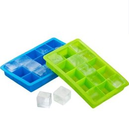 Wholesale Baking Fruit Cakes - Silicone Square Ice Cube Tray Maker Mold Mould Making Candy Chocolate Baking Cake Fruit Pudding for Cocktail Cola Bar Pub Party 15 Units