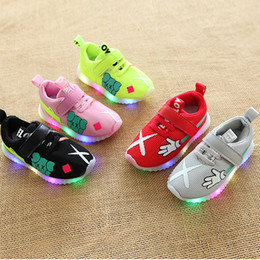 Wholesale Black Baby Walker - LED lowest price!Autumn 2018 Baby First Walkers shoes children's sports shoess mesh shoes girl boy running shoes