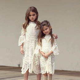 Wholesale Wholesale Knit Shorts - Girls Flower Dress Kids Clothing 2017 Autumn Knitting Lace Dress Fashion Flare Sleeve Cotton Princess Dress HX-551