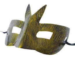 Wholesale Vintage Carnival Costumes - 2017new Men's retro Greco-Roman Gladiator masquerade masks Vintage Golden Silver Mask silver Carnival Mask Mens Halloween Costume Party Mask