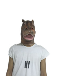 Wholesale Masquerade For Men - Hot Hippo Latex Animal Mask Creepy Halloween Masquerade Tricky Performance Masks Overhead Full Face Free Shipping