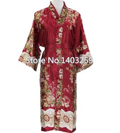Wholesale Long Black Silk Nightgown - Wholesale-Burgundy Chinese Men Silk Satin Long Robe Unisex Sexy Sleepwear Nightgown Male Kimono Bath Night Gown Pijama Plus Size NR004