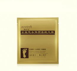 Wholesale Feet Softening - retail 10pcs AIVOYE foot mask 24K Gold Revitalizing Exfoliating Softening Feet mask Removes Cuticles callus Dead cells foot care In stock