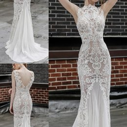 Wholesale Gloves Sleeve Dresses Wedding - 2017 Backless Beach Wedding Dresses With Free Glove Lace Applique High Neck Mermaid Wedding Dress Sweep Train Plus Size Boho Bridal Gowns