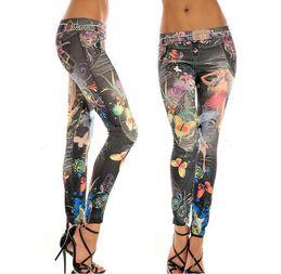 Wholesale Seamless Sexy Leggings - 10 pecs Wholesale- Plus Size Slim New Women Sexy Seamless Imitation Cowboy Pants Printed Leggings Elasticity Fashion Butterfly Girl Pant