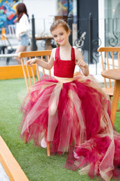 Wholesale Girls Tutu Super Fluffy - Red Super Fluffy Handmade Wedding Princess Lolita Style Tutu Dress Ankle-Length For Ball Birthday Party Gift All Children Size