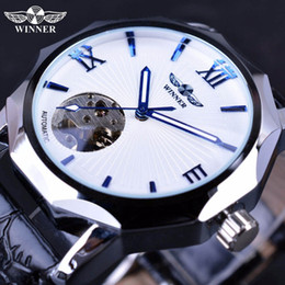 Wholesale Winner Transparent - Winner Blue Ocean Geometry Design Transparent Skeleton Dial Men Watch Top Brand Luxury Automatic Fashion Mechanical Watch Clock