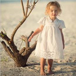 Wholesale Thin Cotton Dresses - Cotton Lace Girl Dress Kids 2017 Summer New Embroidered Children Clothes White Lace Princess Korean Cute Thin Dress Size 100-140