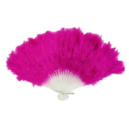 Wholesale Wholesale Party Supply China - Beautiful Feathers Fans Women Party Supplies Creative Folding Feather Fan Stage Dance Performance Props Multi Color 2 9hw C R