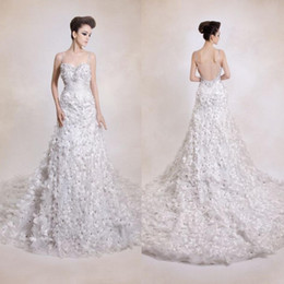 Wholesale Dress Handwork - New handwork Spaghetti expensive luxurious wedding dress with Crystal Sequins 3D-Floral Appliques petal wedding dresses bride gowns QW825