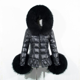 Wholesale Quilted Sleeves - 2016 Winter Women Black Down Jacket Coat Raccoon Fur-Trim Hood Long Sleeve Warm Parka Coats Fashion Checked Quilted Slim Overcoats