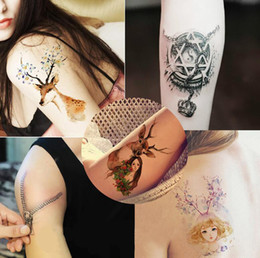 Wholesale Flower Designs For Tattoos - 2016 Hot!Sexy lifelike Harajuku Flowers arm Tattoo Design Waterproof men&women Temporary Tattoo Sticker For Body Art Flesh Tatoos
