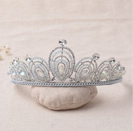 Wholesale Girls Pageant Crowning Dresses - The Actual Shooting Ladies Girl Tiara Crown Jewelry Q17 Pageant Silver Rhinestone Sparkling Evening Prom Party Dresses Accessories Supplie