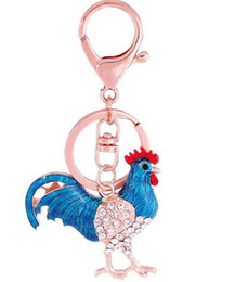 Wholesale Pretty Chic - Pretty Chic Opals Cock Rooster Chicken Keychains Crystal Bag Pendant Key ring Key chains