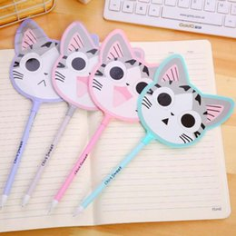 Wholesale New Stationery For School - New Fashion 10pcs Lot Cute Plastic Cat Shape Gel Pen Lovely Cartoon Pen For Kids Gift School Supplies Stationery Prize Pen Material Escolar