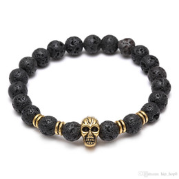 Wholesale Handmade Jewelry Stones - Lava Natural Stone Elastic Skull Beads Charms Bracelets Volcanic Rock Charm Bracelets Prayer Beads Bracelet Handmade Diffuser Jewelry