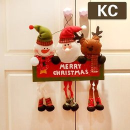Wholesale Santa Signs - Decorative Xmas Decoration Christmas Welcome Wooden Board Sign With Hanging Santa Claus Snowman Deer Doll Wall Door Pendant Ornaments