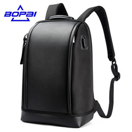 Wholesale Unique Usb - BOPAI 2017 New Designed Summer Backpack Men Unique Stylish Laptop Backpack Business Men Travel USB Backpack Fashion School Bags