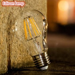 Wholesale Led Globe 6w Cool White - E27 E26 B22 4W 6W 8W Warm White Cool White A60 A19 Vintage LED Filament Bulb Dimmable Edison Globe Bulb