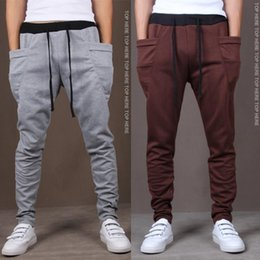 Wholesale Gray Burst - Wholesale-Mens Joggers Top New Arrival Cotton Oxford 2016 Hitz Men Burst Sell Trousers Pants Harem Feet Male Flying Squirrel Loose