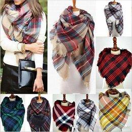 Wholesale Thick Pashmina Wrap - Women's scarves Plaid Scarf Thick Woman scarf Warm Cashmere neckerchif scarf Shawl lady scarf 20 colors Christmas scarfs