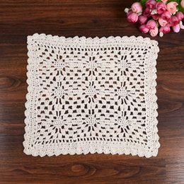 Wholesale Crochet Napkins - Wholesale- LINKWELL Brand New Fashion 25 cm Square Table Pad Cotton Crochet Doilies Potholders Cup Mat Napkin Cup Coaster Tablemat Doily