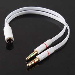 Wholesale Mic Cable Splitter - Wholesale- 3.5mm Gold Plated Audio Mic Y Splitter Cable Headphone Adapter Female To 2 Male Cable for PC Laptop etc White