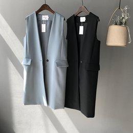 Wholesale Korean Winter Fashion Vest Coat - Women's Vest New Hot 2017 Hion Woman Coat Winter Autumn Sleeveless Solid Black Korean Style Casaco Feminino Outerwear Women Vests Loose