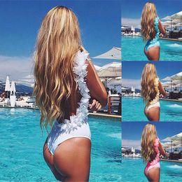 Wholesale Hot Pink Swimwear Women - Women Hot Lace Splicing Swimwear Low Collar Halter Slim Bikini Beach Swimsuit Siamese Swimsuit ZC 2215
