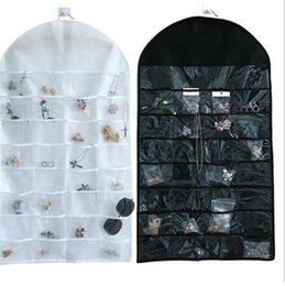 Wholesale Jewelry Hanging Storage Bag - 32 Pockets Jewelry Hanging Organizer Earrings Necklace Jewelry Display Holder Storage Bag Display Pouch 2 color KKA2261