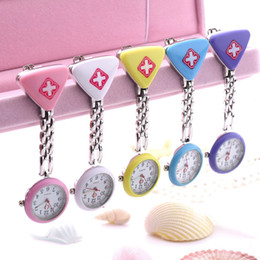 Wholesale Nurse Pendant Watches - Nurse Doctor portable Triangl Pendant Pocket Quartz Red Cross Brooch Nurses Watch Fob Hanging Medical top quality with Clip