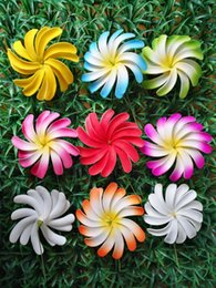Wholesale Tiare Flower Wholesale - NEW FREE SHIPPING KL988 100PCS LOT 8colors 4 inch white double Foam Tiare Hair Pick HAWAII Tropical flower for Beach Party Weeding Summer