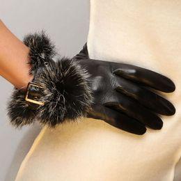 Wholesale Rex Gloves - 2016 Fashion Winter Lambskin Adult Women Gloves Real Genuine Leather Wrist Rex Rabbit Fur Solid Goatskin Driving Glove L057pn
