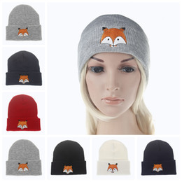 Wholesale fox hats - 2017 burst image fox hats fashion men and women wool hat hip hop creative fox embroidery knitted hat