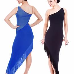 Wholesale Samba Skirts - 2016 Adult Child New Latin Dance Costumes For Women Girls Sleeveless Blue Black Ballroom Dance Dress Women Cha Cha Samba Latin Skirt