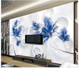 2019 fiori blu romantici Carta da parati 3D foto murales personalizzati carta da parati murale moda Blu fiori romantici 3d tv sfondo murales carta da parati decorazione della casa sconti fiori blu romantici